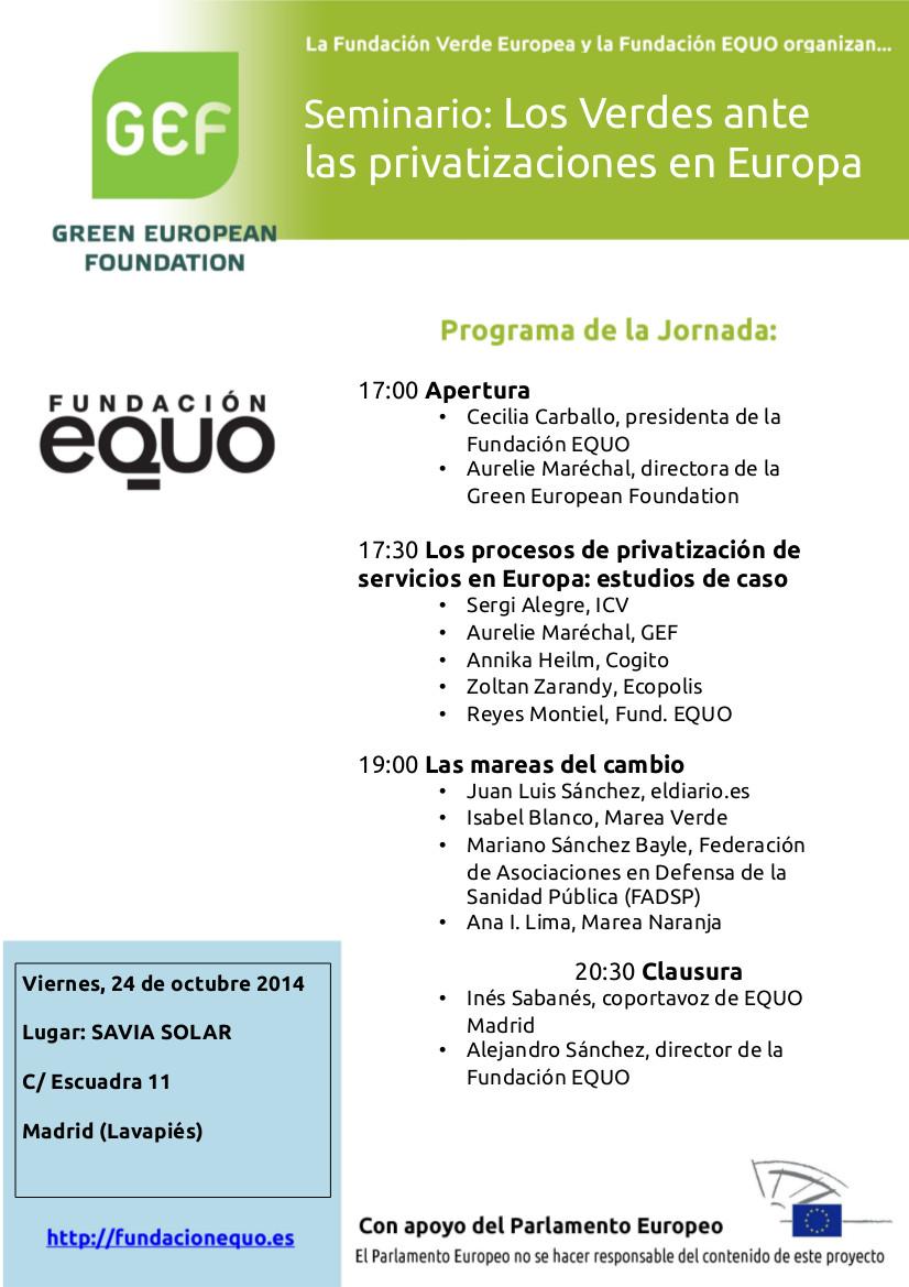 """Seminario """"Los Verdes ante las privatizaciones en Europa"""""""