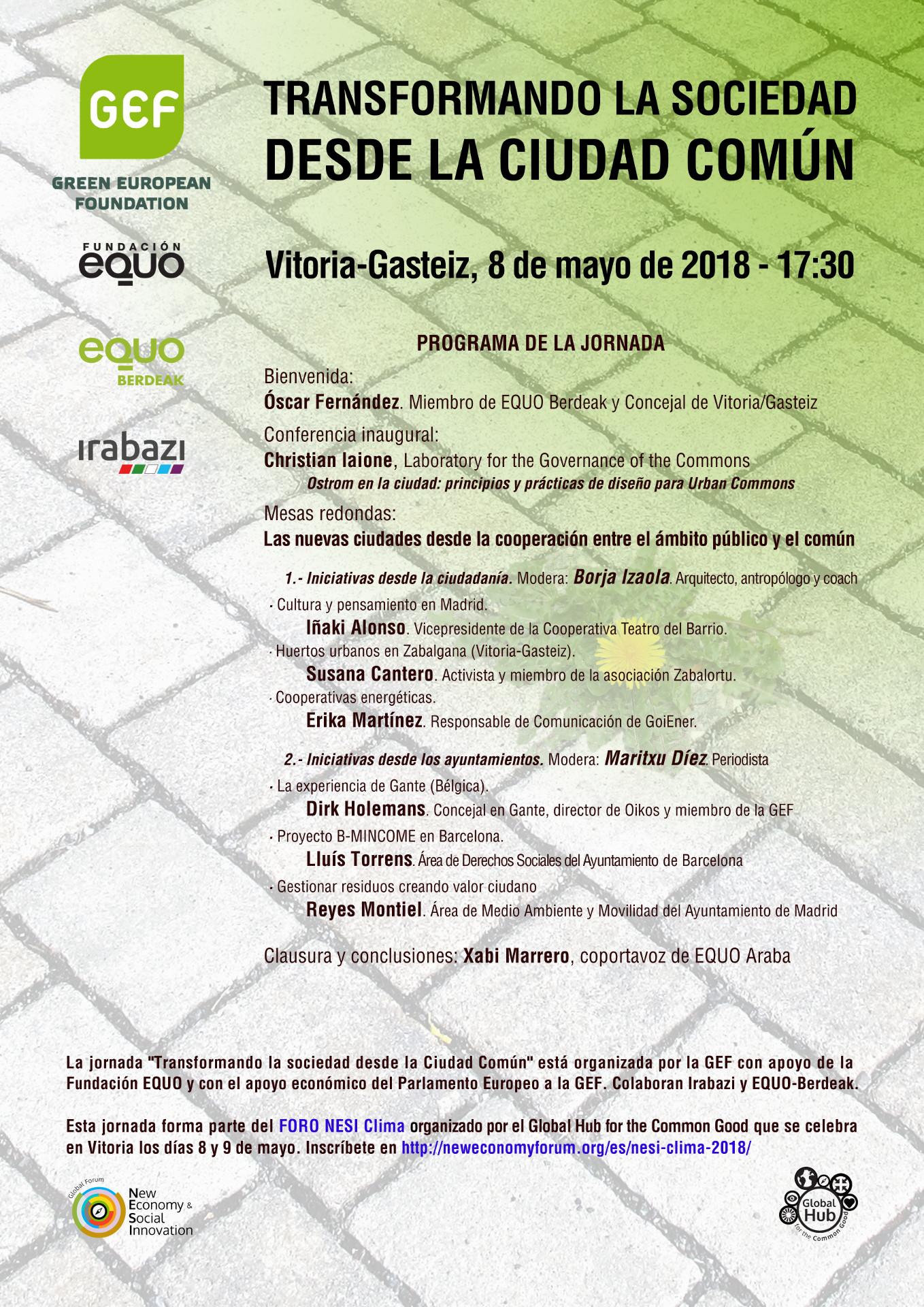 Transformando la sociedad desde la ciudad común. Vitoria-Gasteiz, 8 de mayo